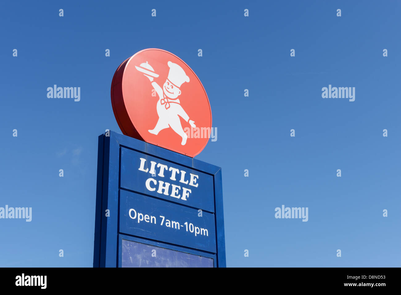 Little Chef roadside restaurant chain sign and logo - Stock Image