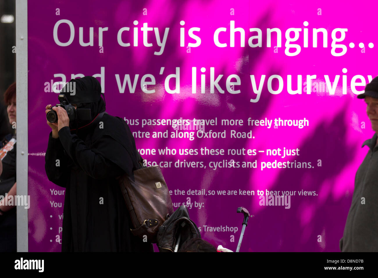 Council consultation sign, views and opinions wanted in Manchester    'Our city is changing and we' like - Stock Image
