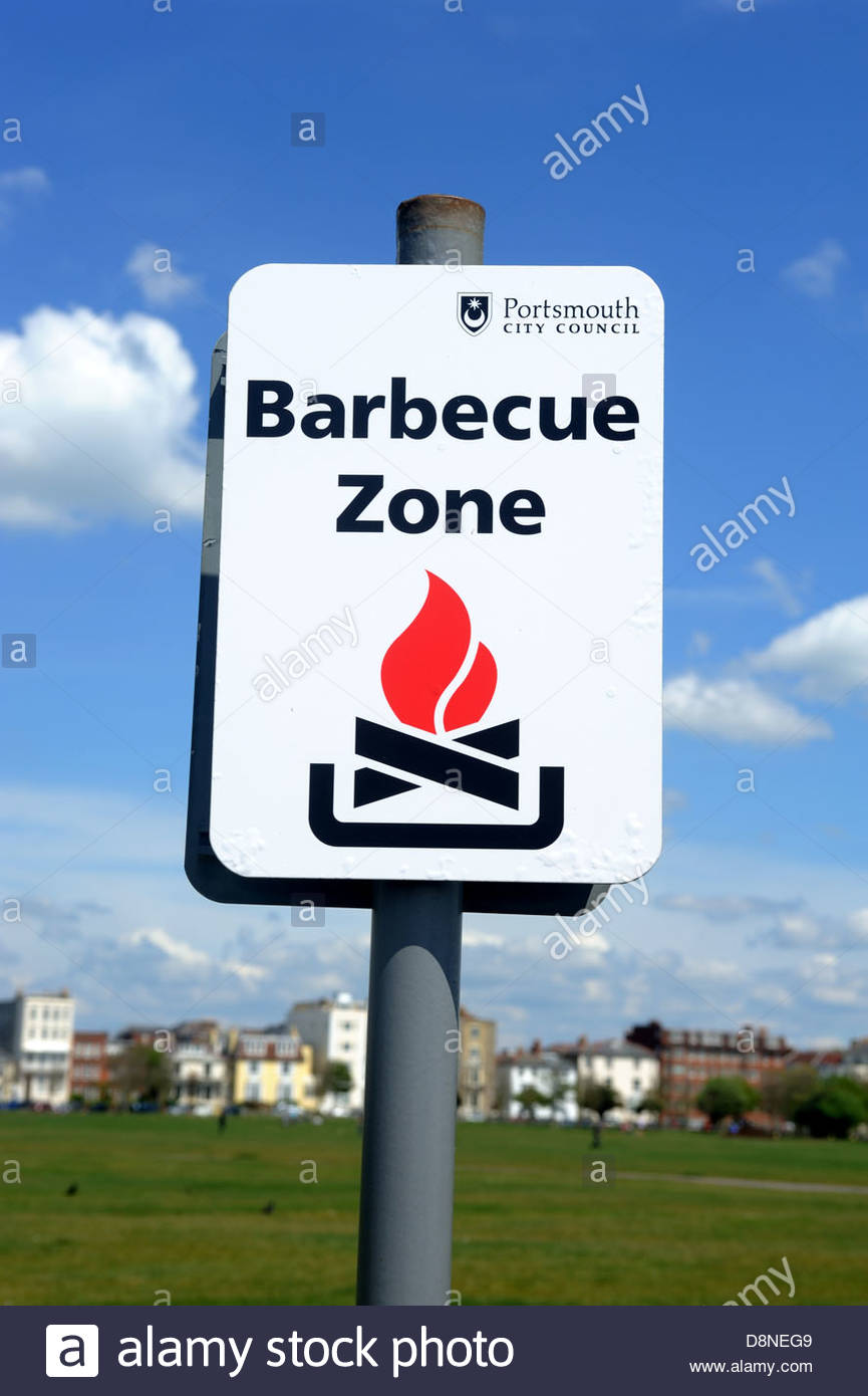 Portsmouth and Southsea Barbecue Zone Southsea common. - Stock Image