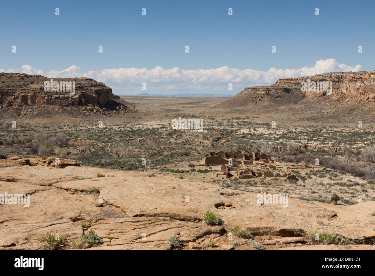 View of Chaco Culture National Historical Park from overlook above Chaco canyon.  Ancient road can be seen in distance - Stock Image