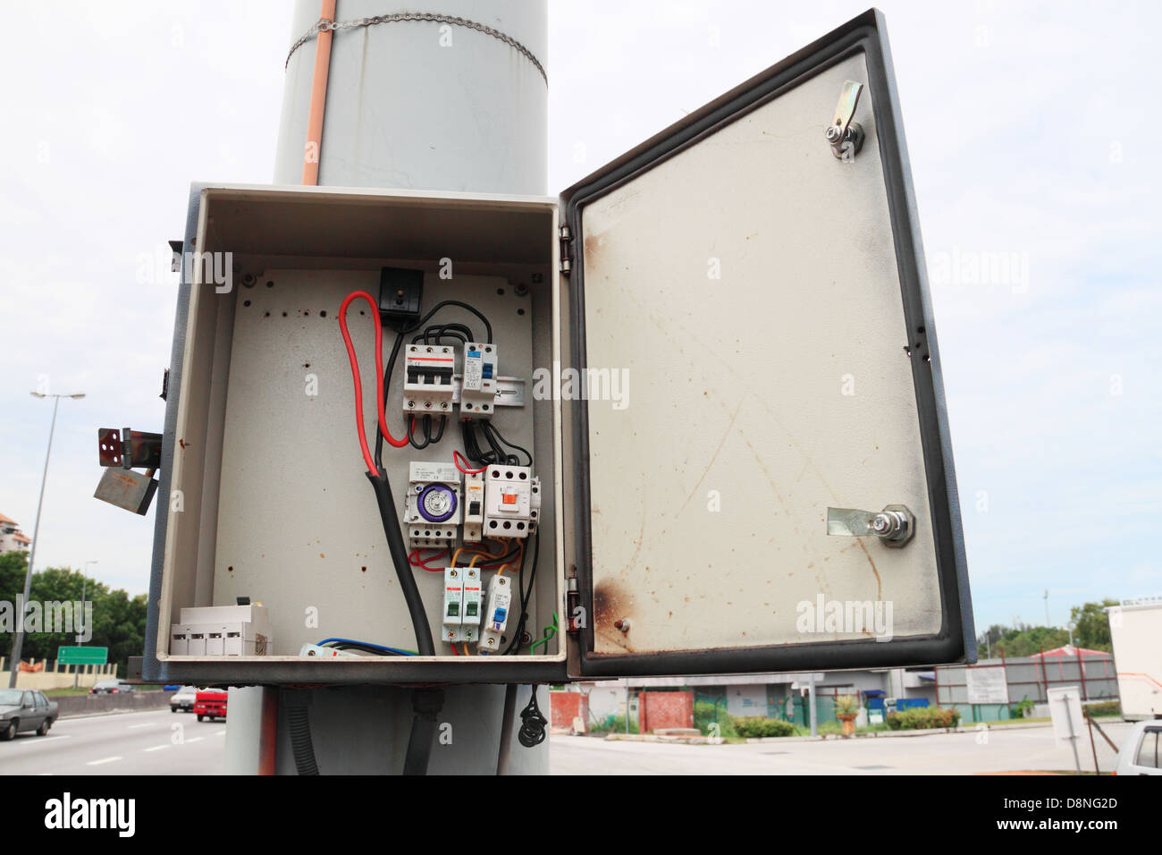 Safety fuse box that has been illegally brake open. Stock Photo