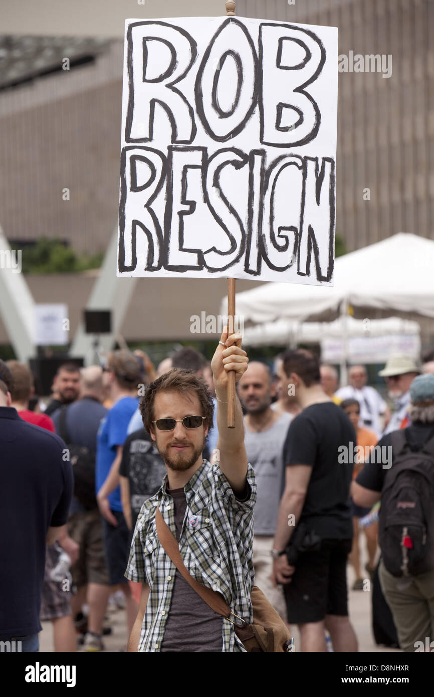 Toronto, Canada. 1st June, 2013. Protester   outside Toronto city hall  and demanding  Mayor Rob Ford to step down - Stock Image