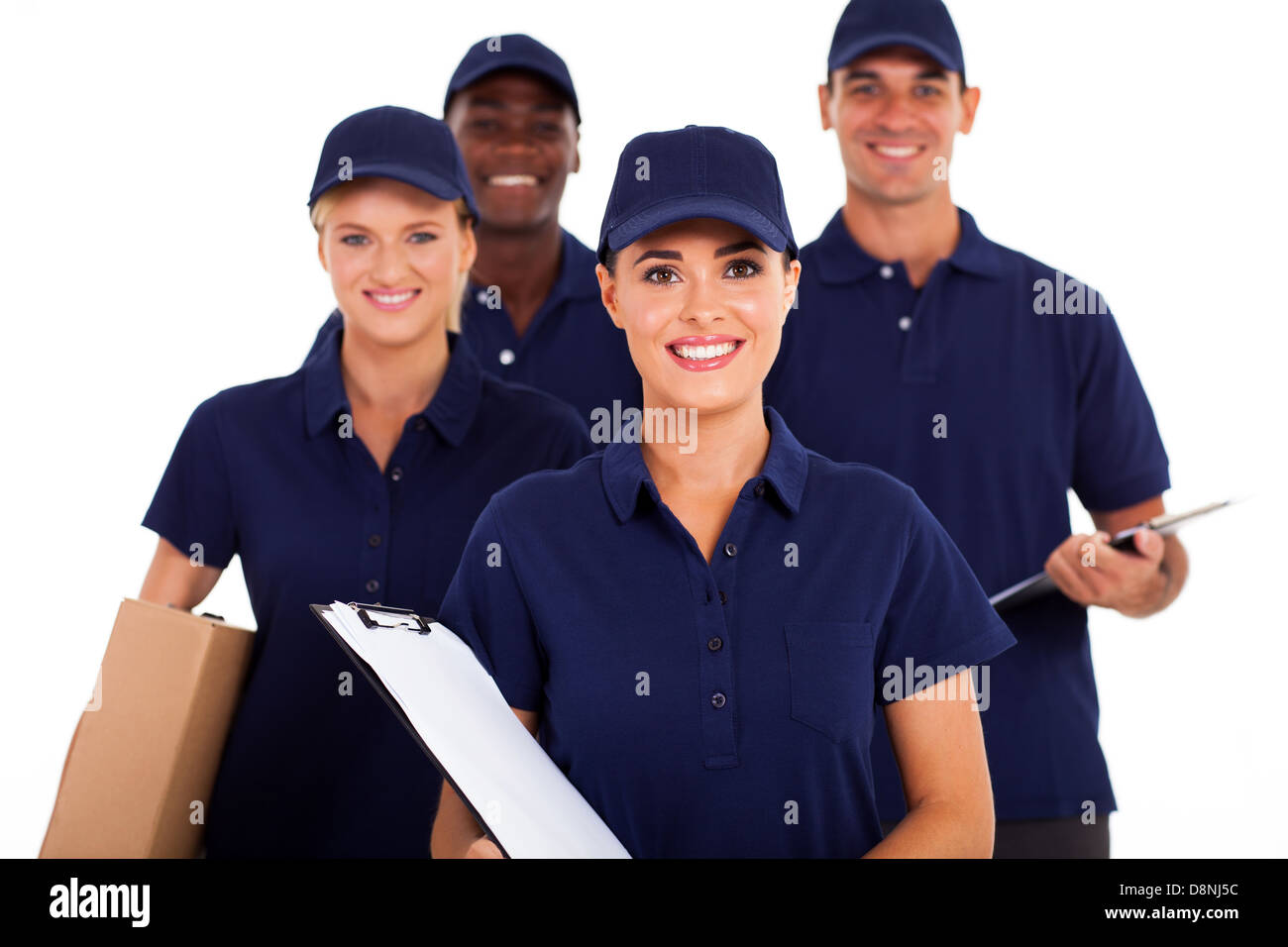 group of delivery service staff half length on white - Stock Image