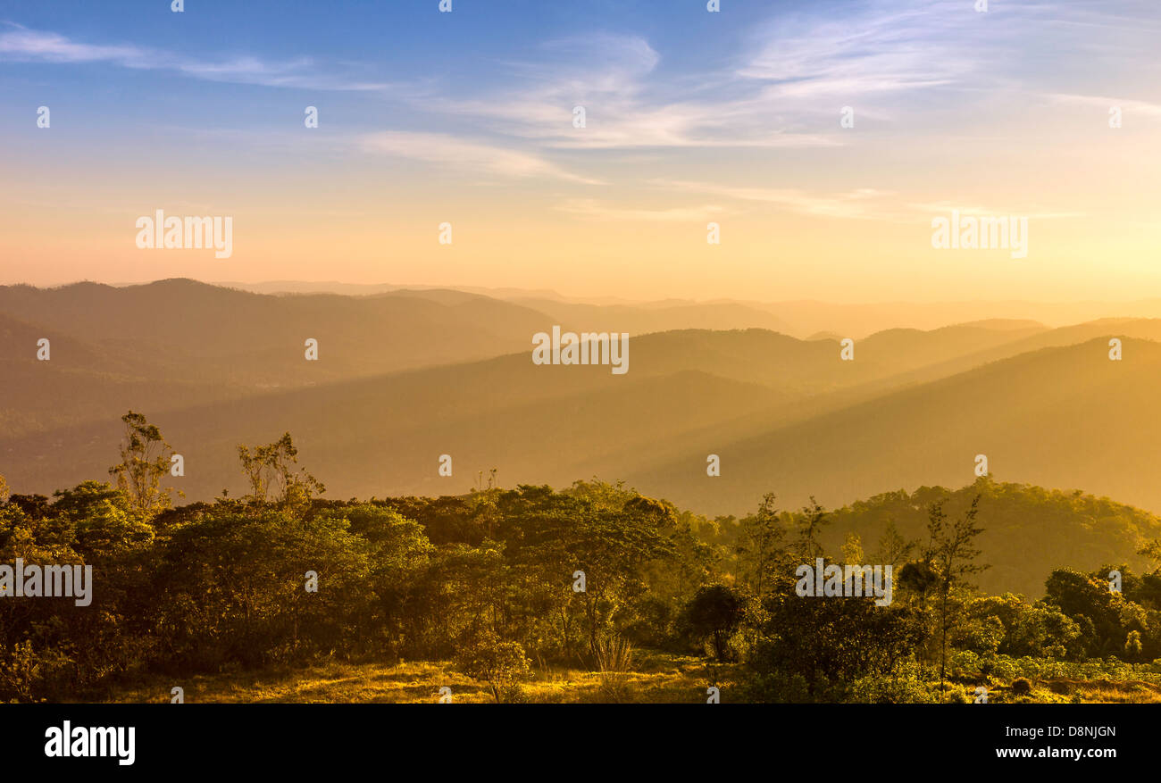 View across the Cardamom Hills at sunset near the Periyar Wildlife sanctuary in Kerala, India. - Stock Image