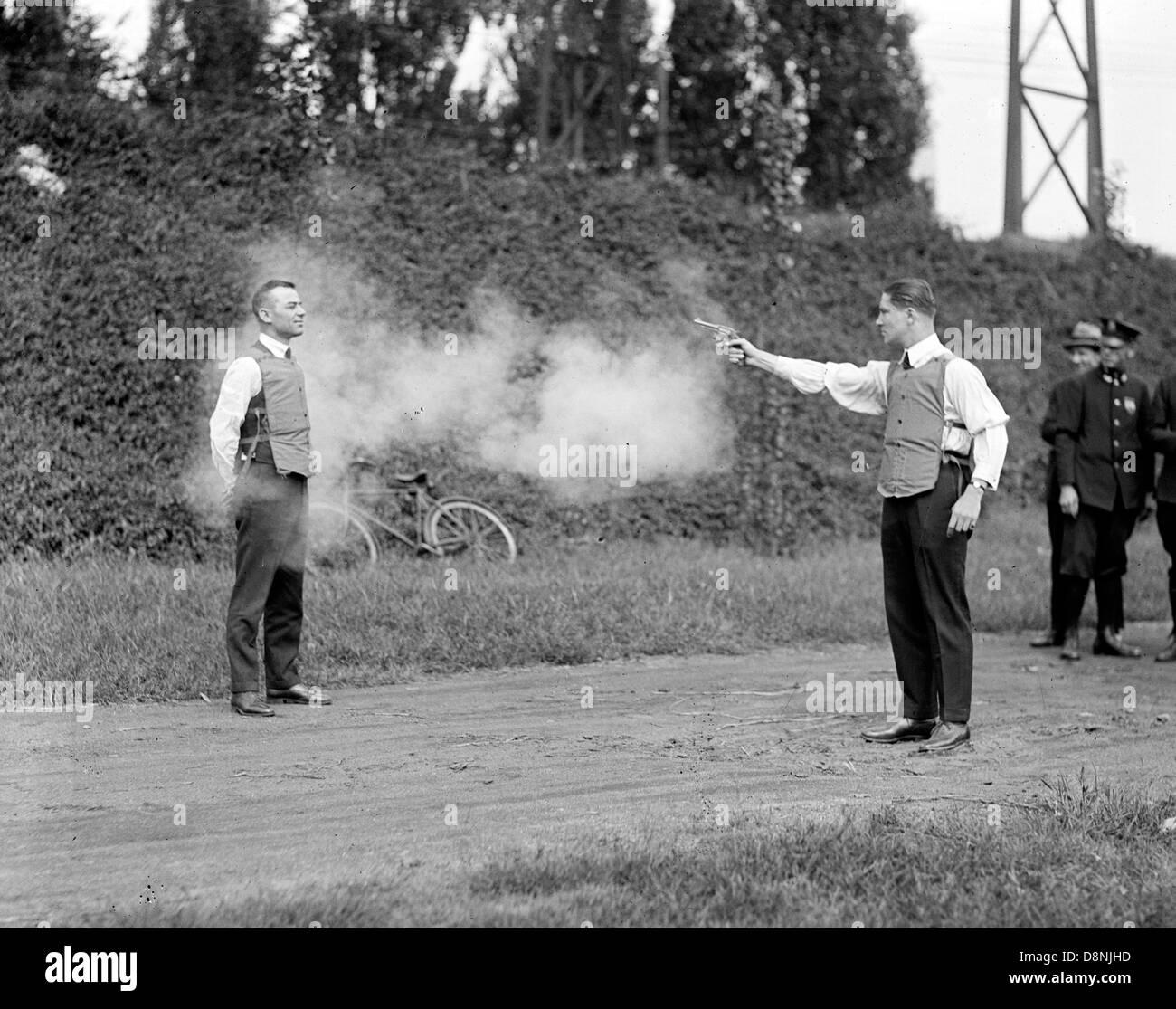 Testing a bullet-proof vest,  bullet proof vest, bulletproof vest being tested - Stock Image