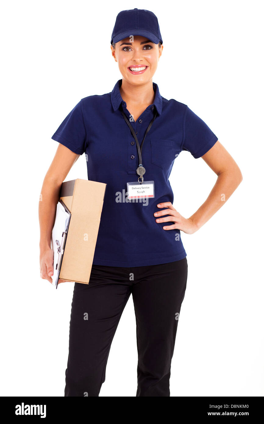 pretty delivery girl half length isolated on white - Stock Image