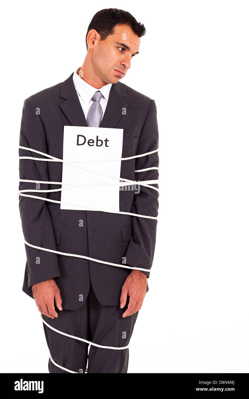 businessman tied with debt isolated on white - Stock Image