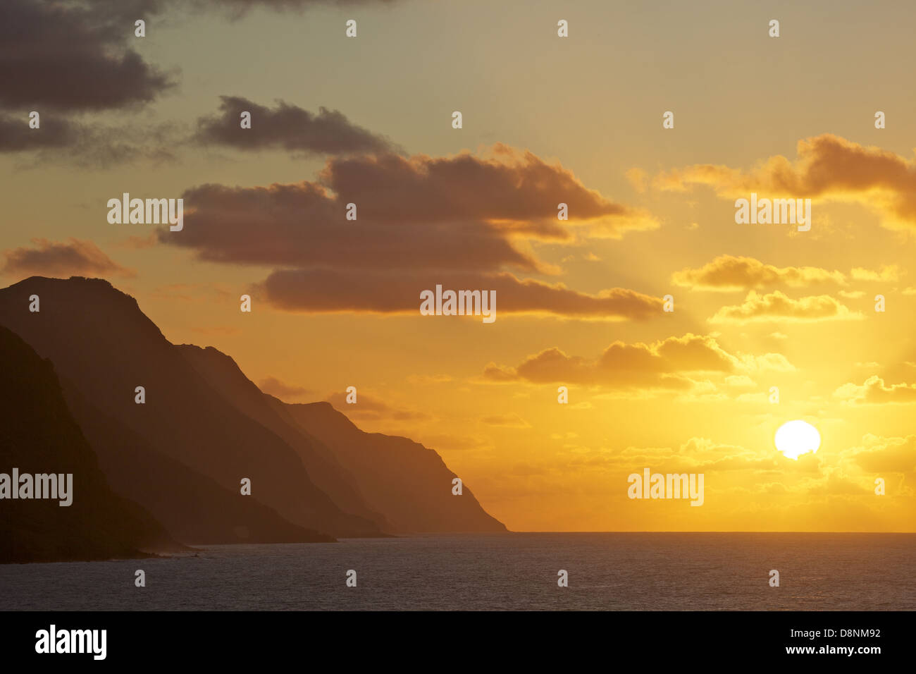 Sunset at north coast of São Jorge island - Azores Stock Photo