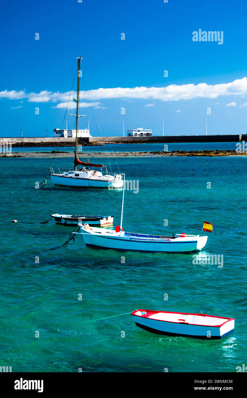 Fisher boats at the laguna Charco de San Gines, city of Arrecife, Lanzarote, Canary Islands - Stock Image