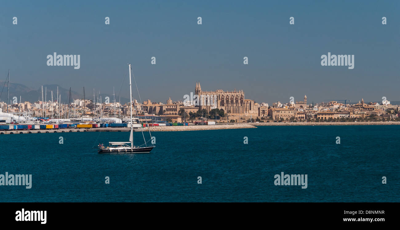 Palma de majorca panorama, viewed from the sea - Stock Image