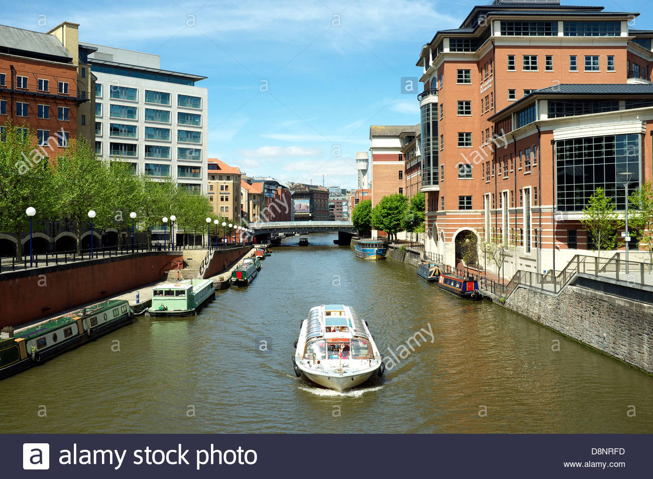 A view of the business area of Temple Quay and the River Avon (and the Floating Harbour) in Bristol, UK. - Stock Image