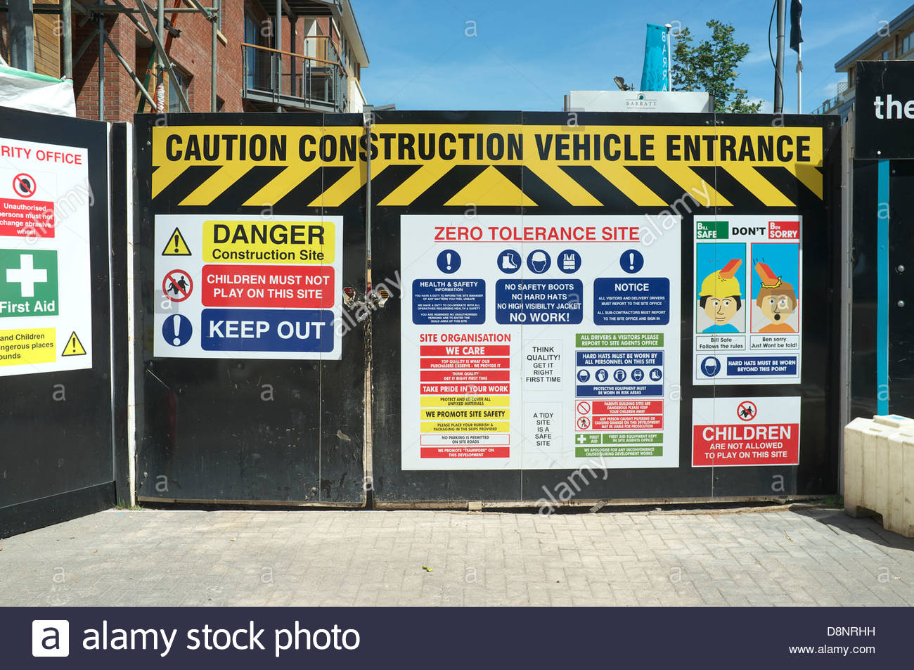 Health & Safety signage at a construction site in Temple Quay, Bristol, UK. - Stock Image
