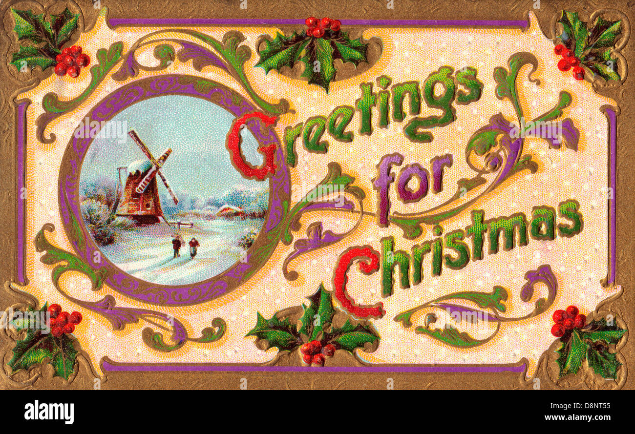 Greetings for Christmas -Vintage card with windmill and winter scene - Stock Image