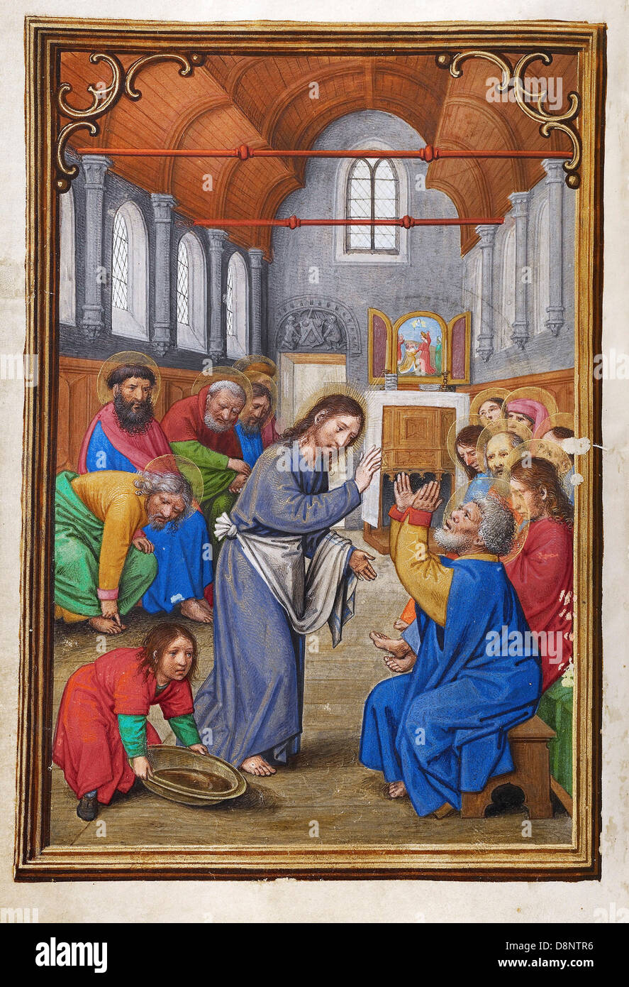 Simon Bening, Christ Washing the Apostles' Feet 1525-1530 Oil on canvas. Tempera colors, gold paint, and gold - Stock Image