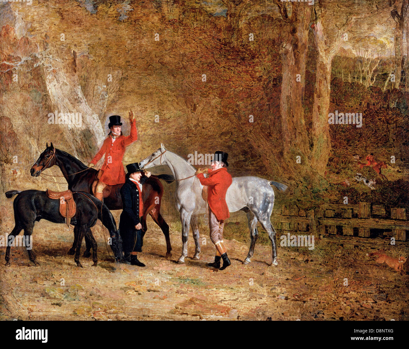 Benjamin Marshall, Foxhunting Scene 1808 Oil on canvas. Yale Center for British Art, New Haven, Connecticut, USA. - Stock Image
