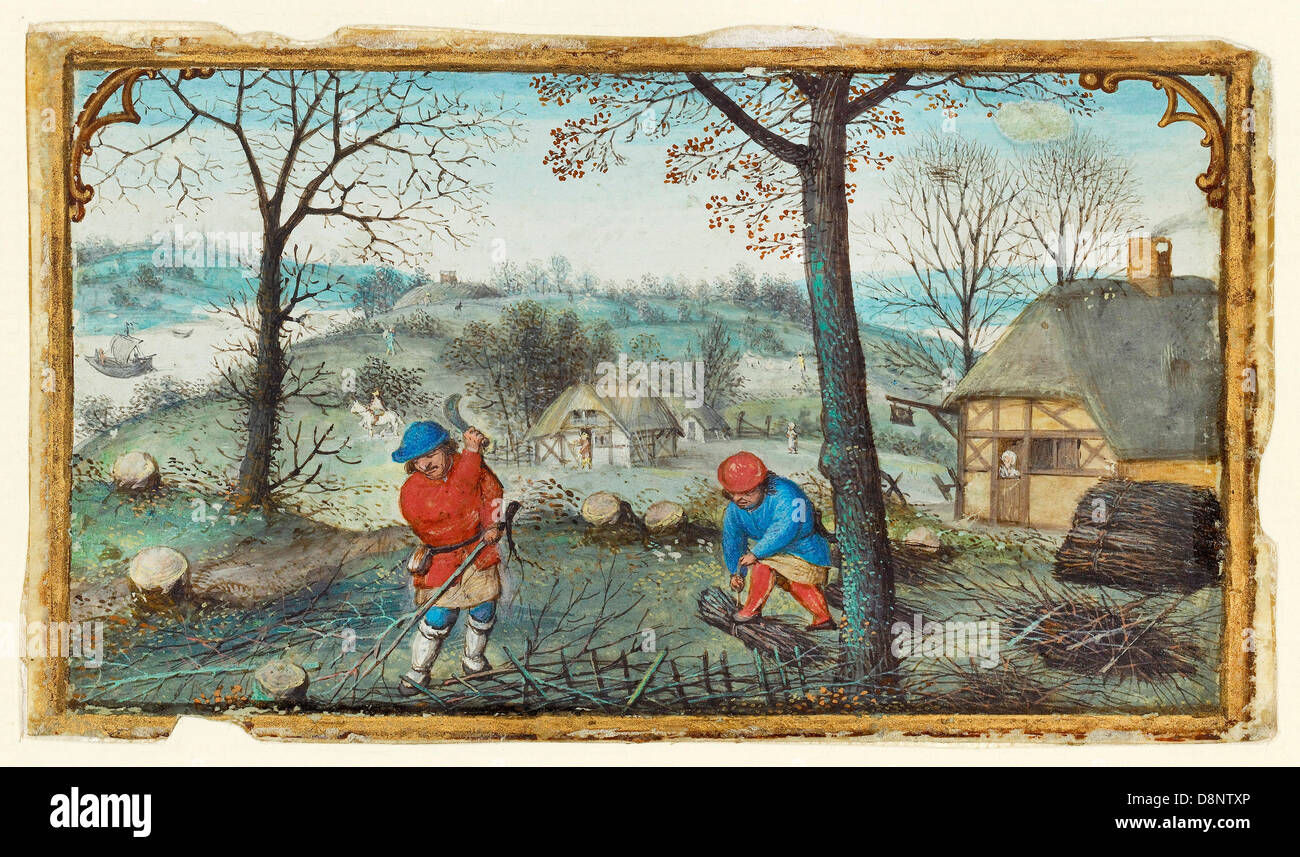 Simon Bening, Gathering Twigs. Circa 1550. Oil on canvas. Tempera colors, gold paint, and gold leaf on parchment. - Stock Image