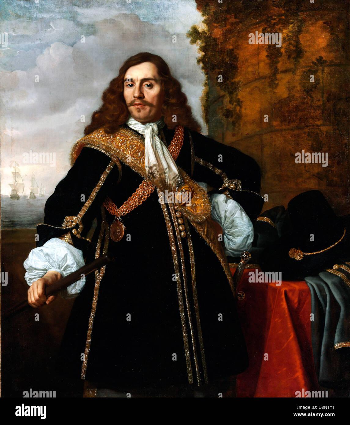 Bartholomeus van der Helst, Portrait of Captain Gideon de Wildt 1657 Oil on canvas. Museum of Fine Arts, Budapest. - Stock Image