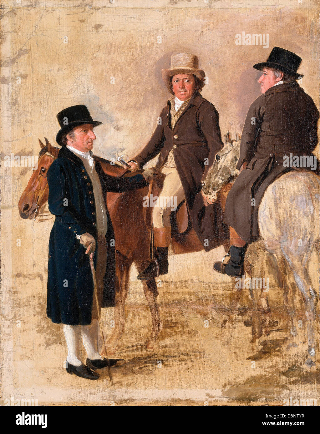 Benjamin Marshall, John Hilton, Judge of the Course at Newmarket; John Fuller, Clerk of the Course; and John Stevens, - Stock Image