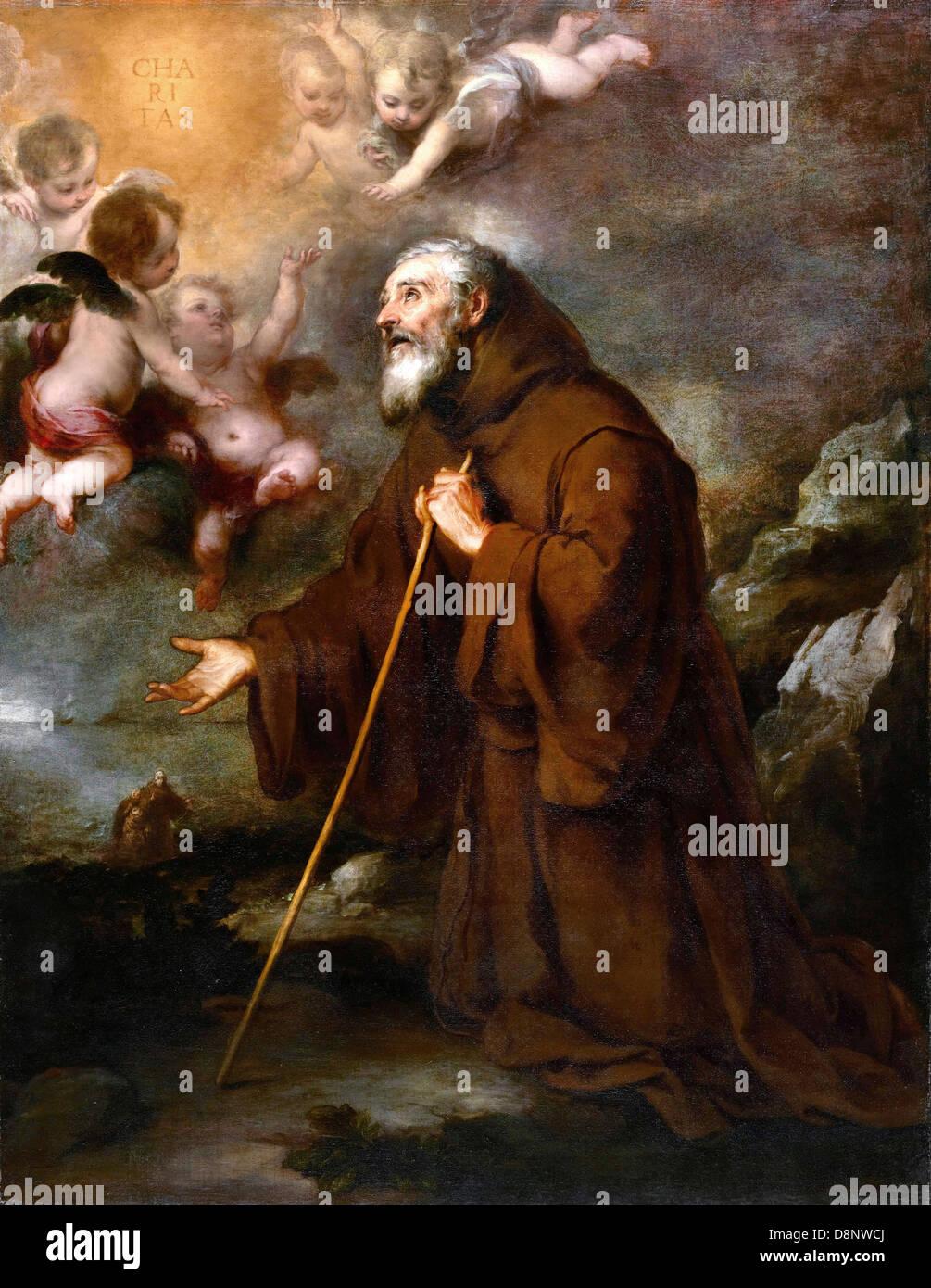 "Saint Francis embracing Christ on the Cross 36/"" Oil Bartolome Esteban Murillo"