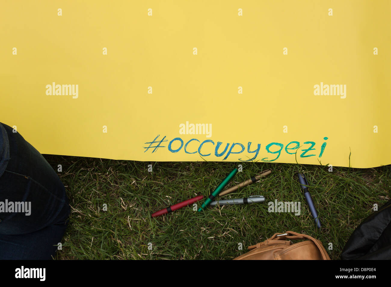 Milan, Italy - June 1, 2013: Turkish people writing in defence of democracy and against prime minister Erdogan in - Stock Image
