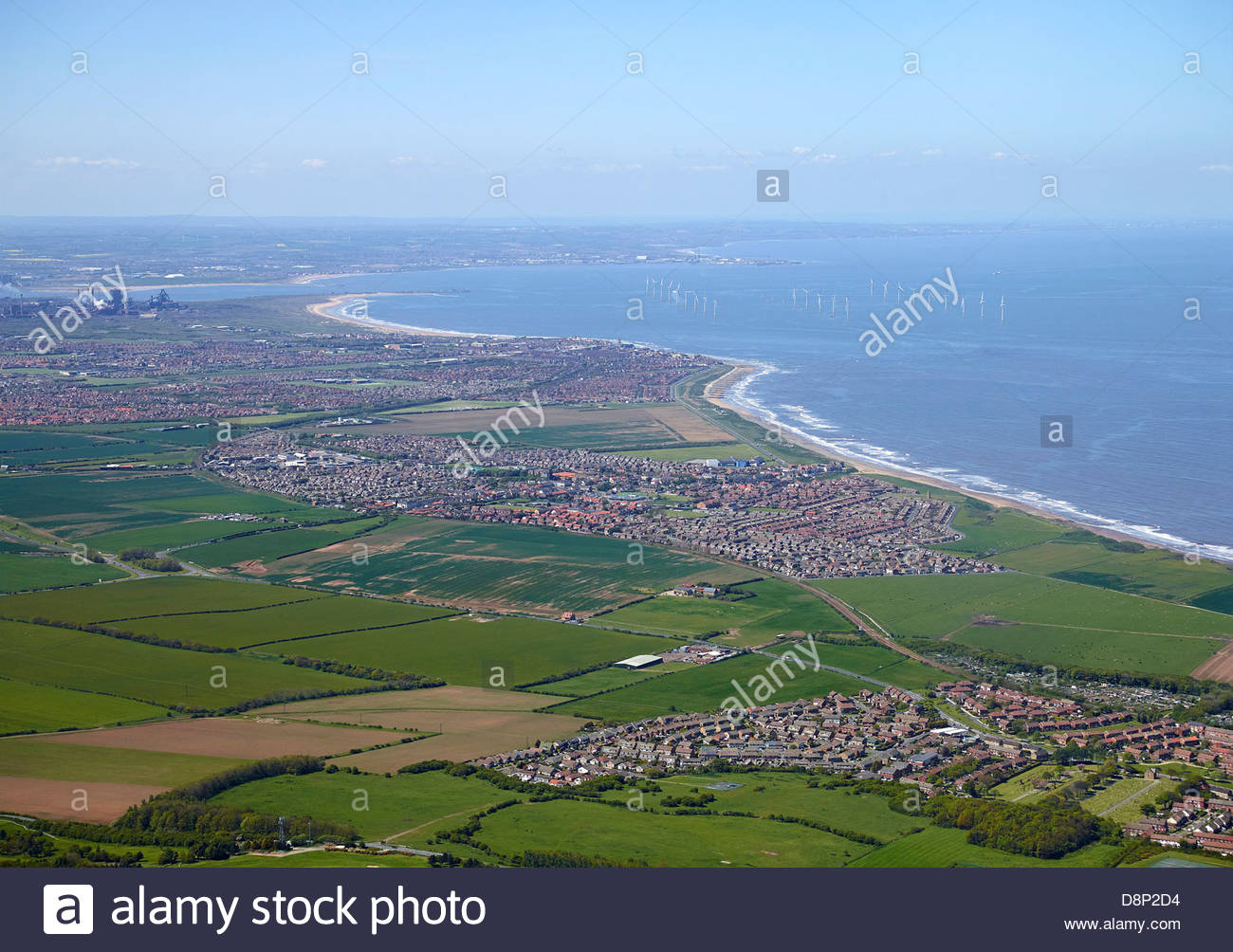 Teeside Coast looking north over Redcar, North East England, the mouth of the Tees top left - Stock Image