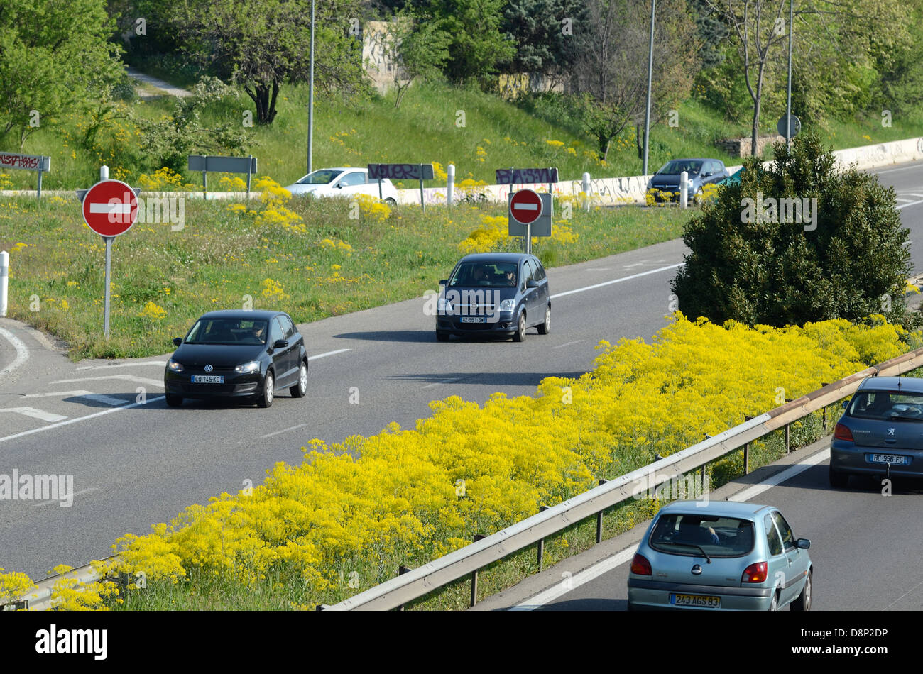 Motorway with Spring Wild Flowers in Central Reservation France - Stock Image