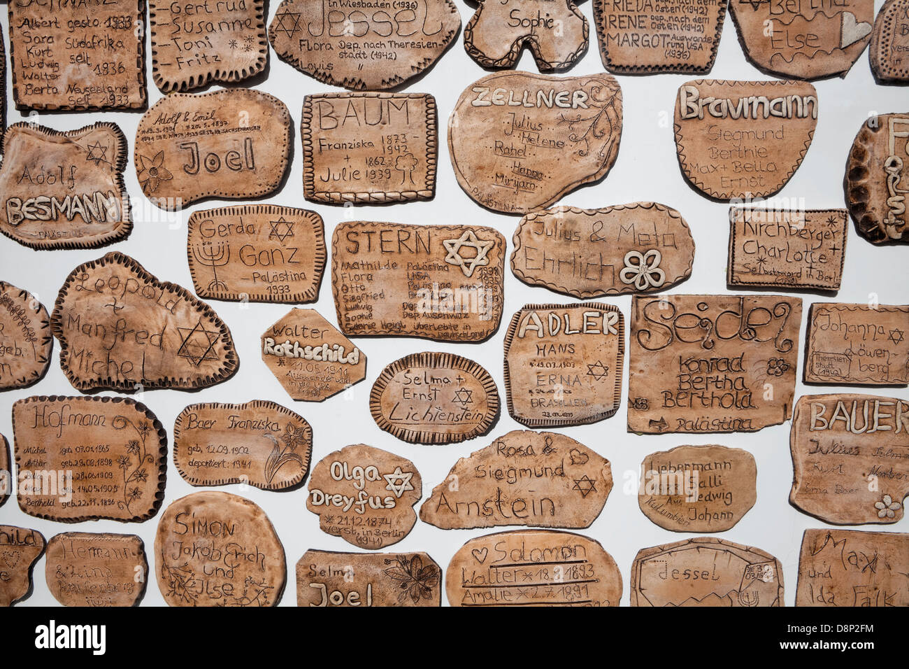 Clay tablets with names of Jews from Weilburg, 1918 to 1945, Weilburg an der Lahn, Hesse, Germany, Europe - Stock Image