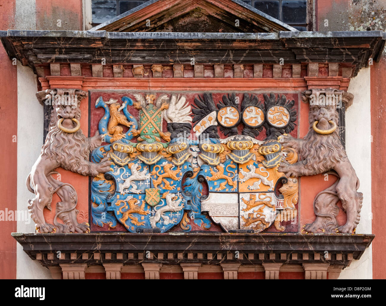 Coat of arms of alliance or marriage, Schloss Weilburg Castle, Weilburg an der Lahn, Hesse, Germany, Europe Stock Photo