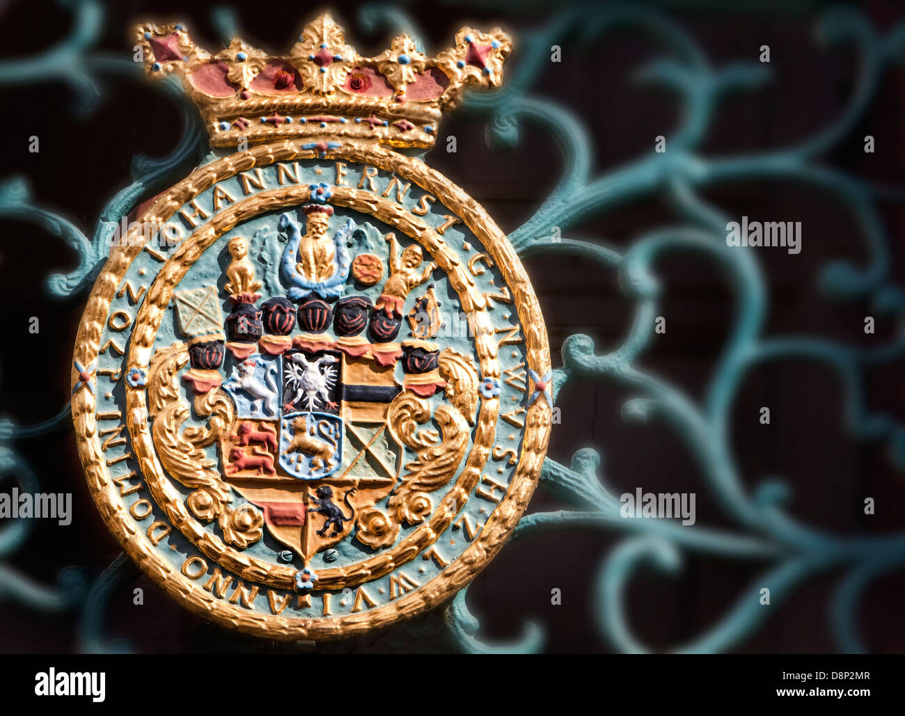 Coat of arms, Schloss Weilburg Castle, Weilburg an der Lahn, Hesse, Germany, Europe - Stock Image