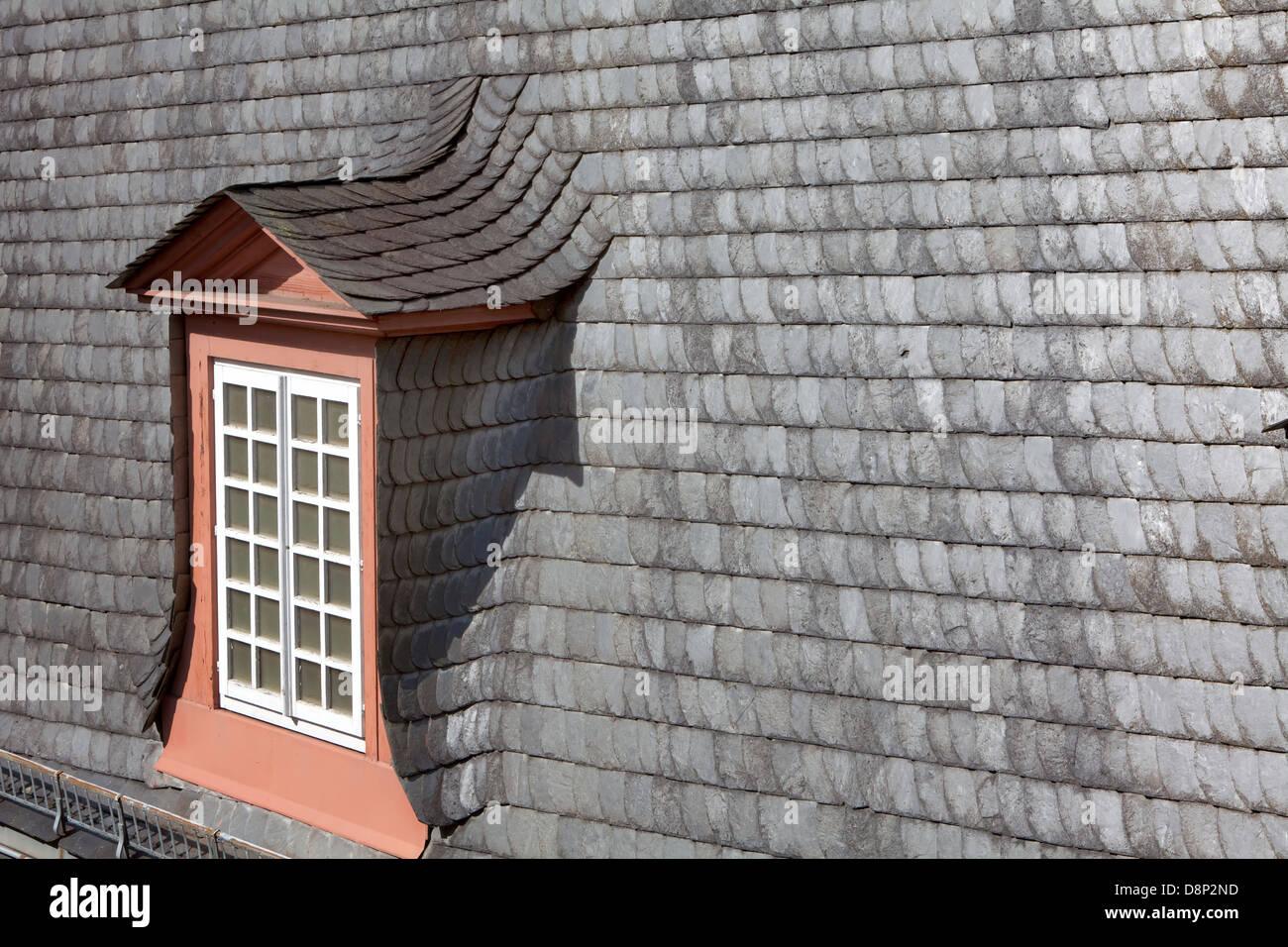 Dormer In A Slate Roof Germany Europe Stock Photo