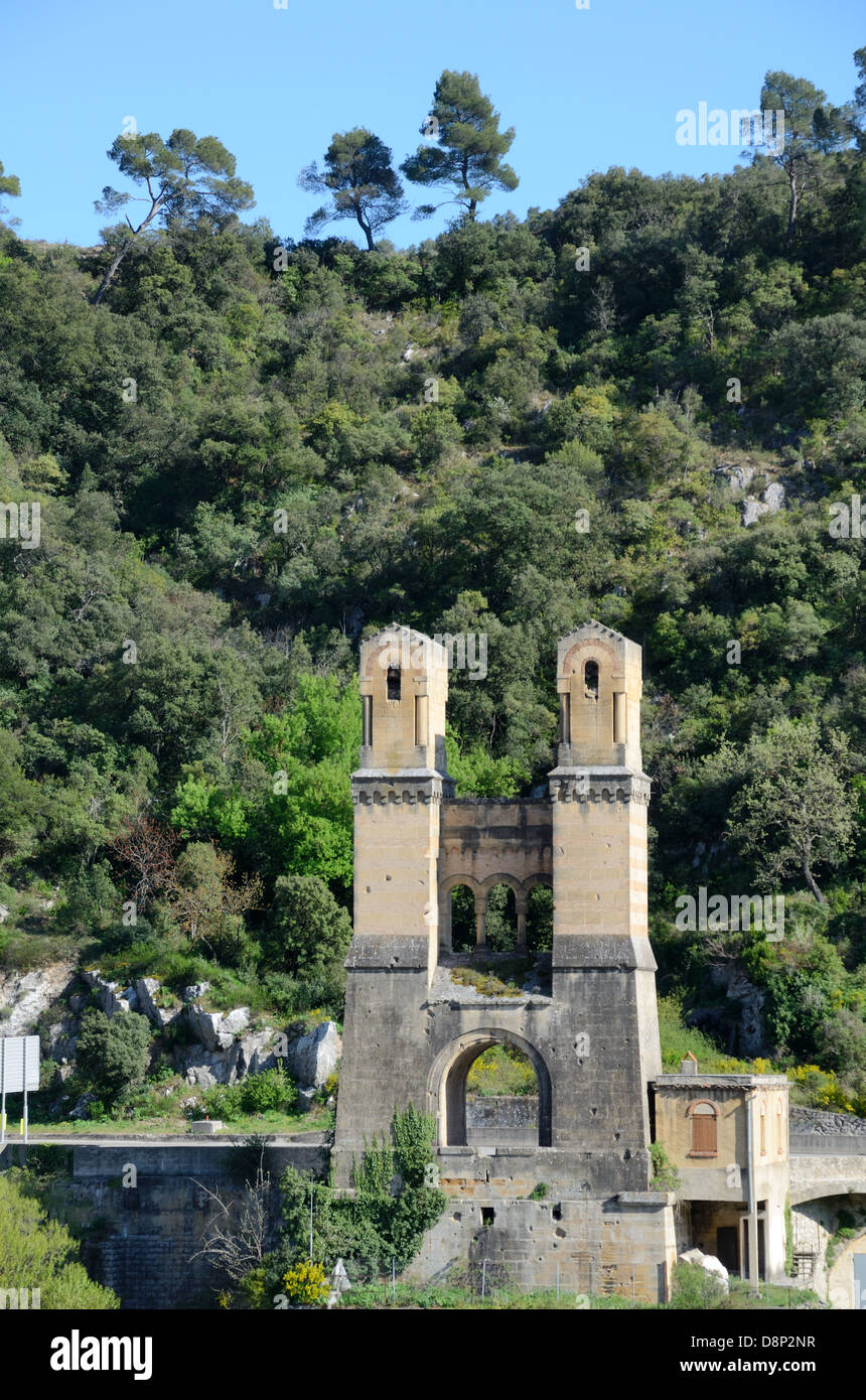 Remains of the Mirabeau Suspension Bridge Durance Valley Provence France - Stock Image