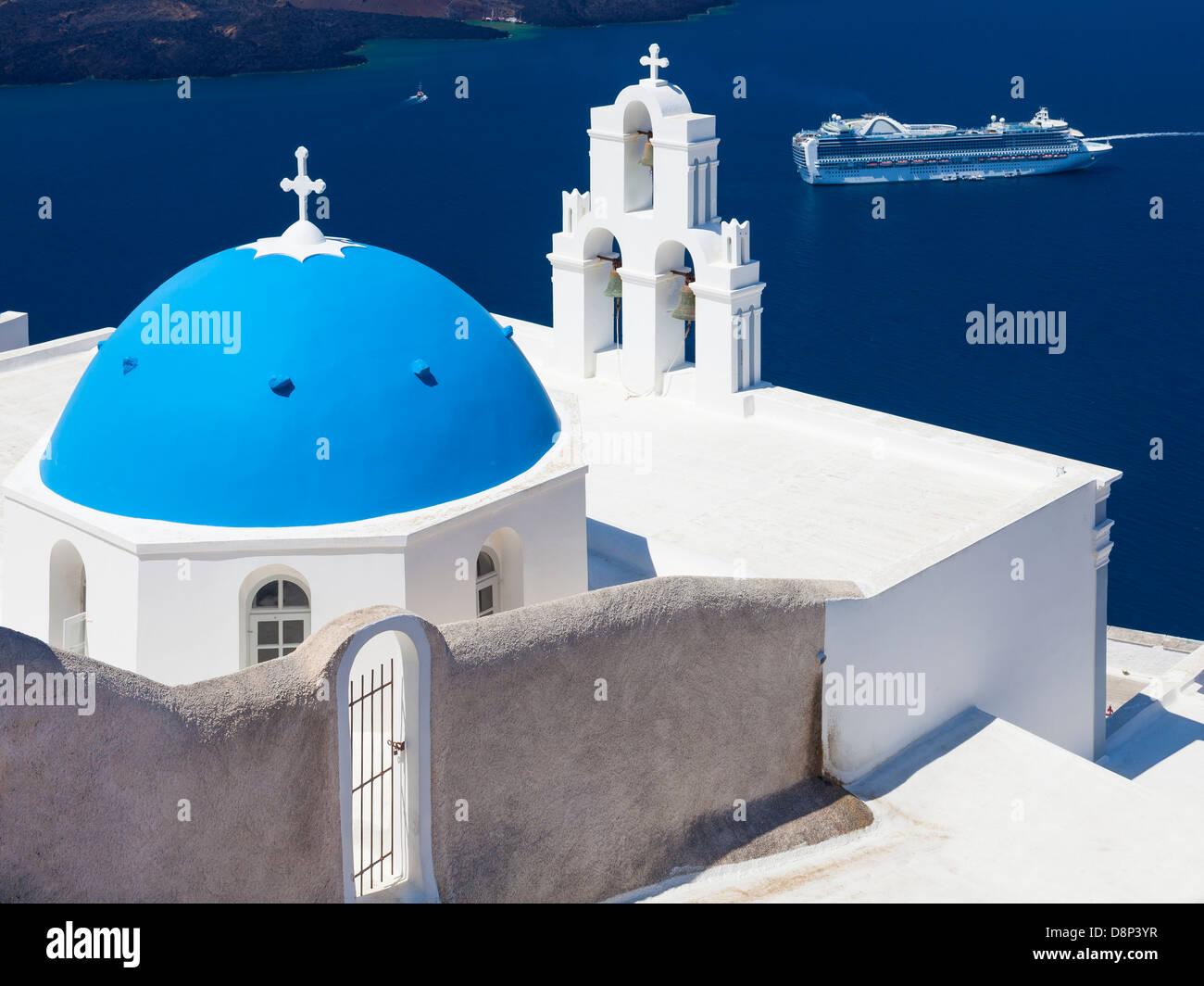 Blue Dome Church at Firostefani near Fira on Thira Island Santorini Greece - Stock Image