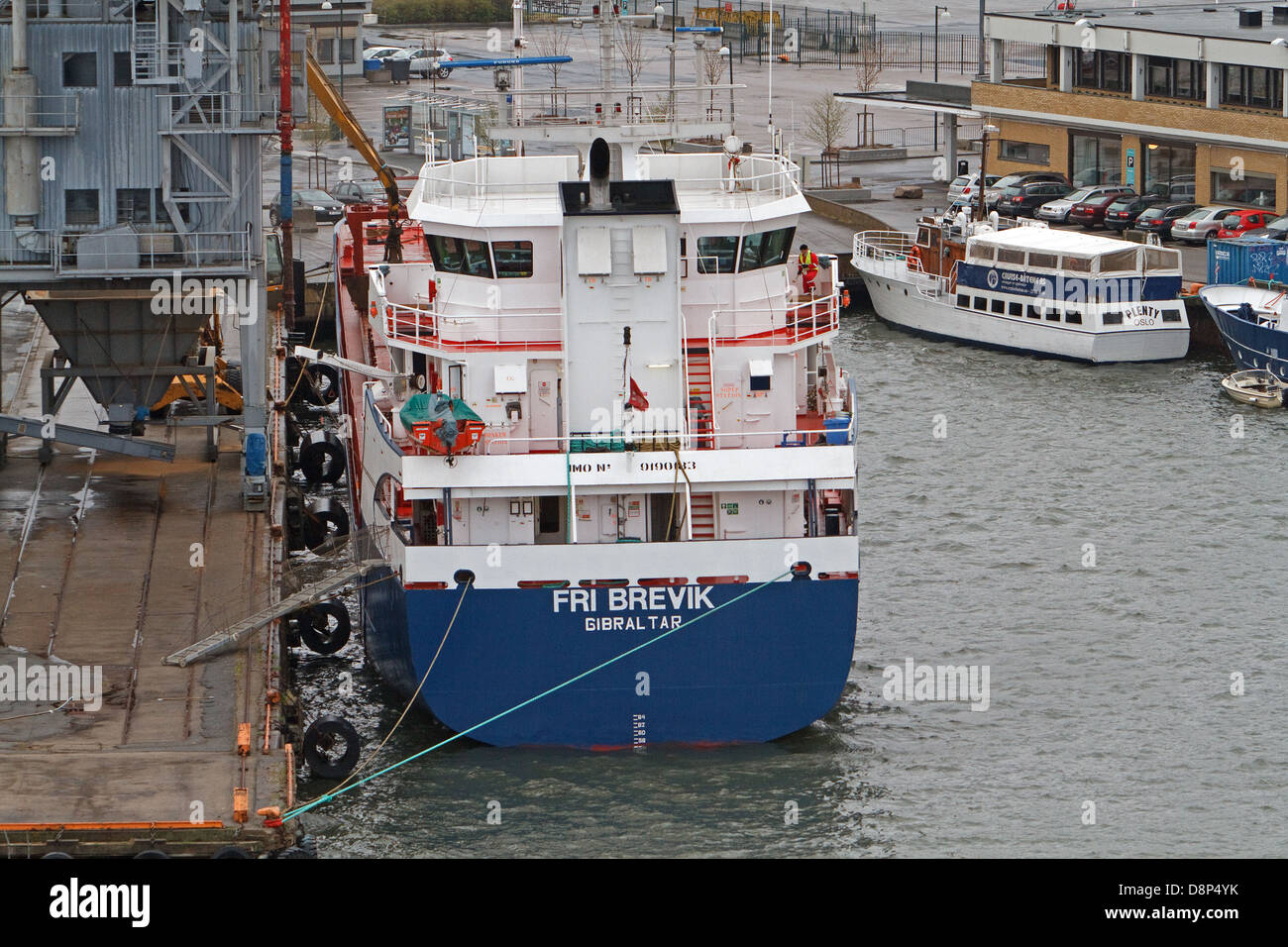 Fri Brevik a ship from Gibraltar docked in Oslo Norway Stock Photo