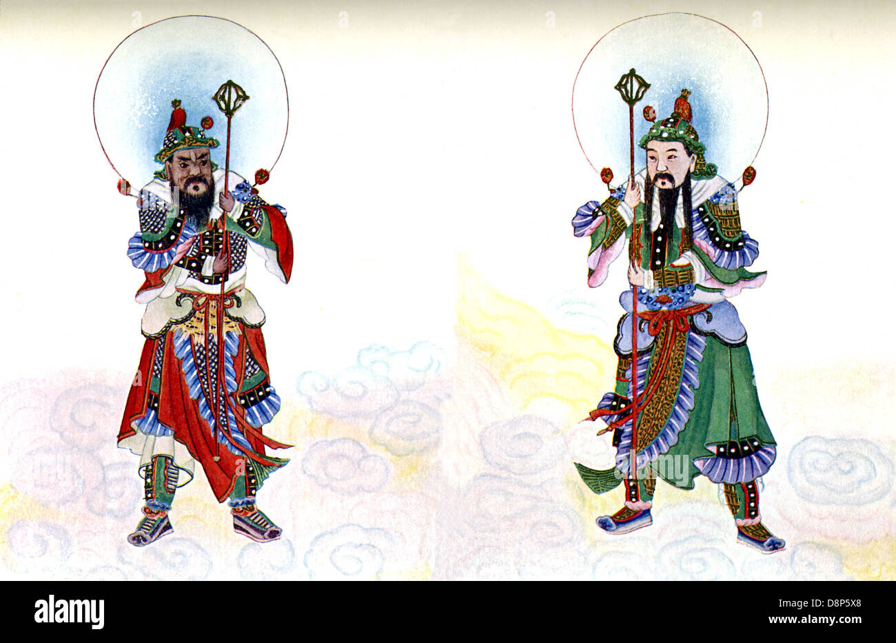 According to Chinese mythology, Shen Shu (left) and Yu Lei were ordered to guard the Door of the Devils. - Stock Image