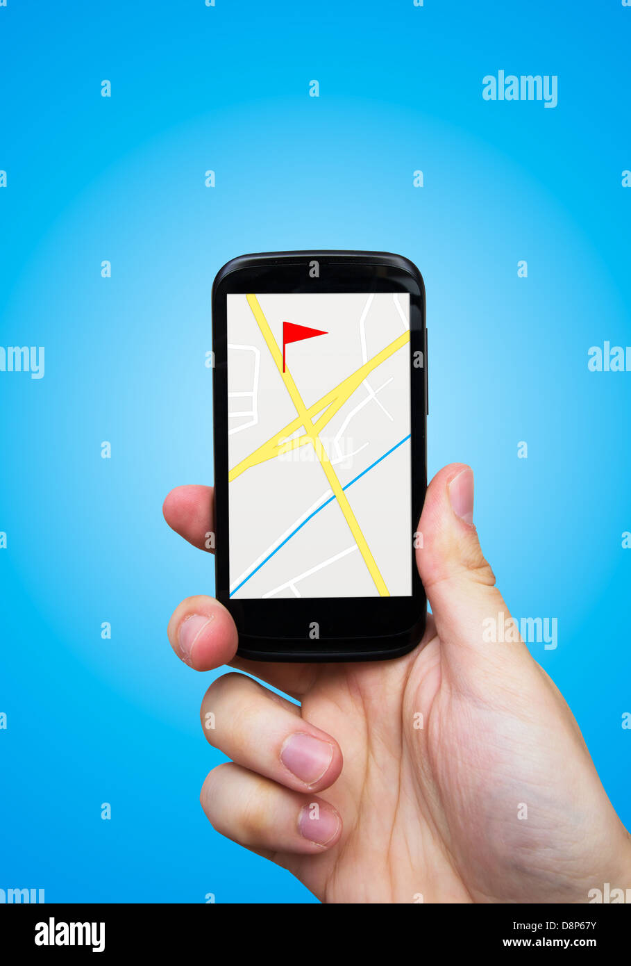 Man holding smart phone with GPS navigation - Stock Image
