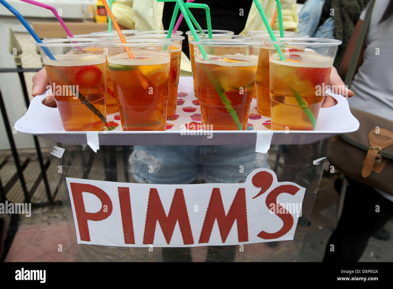 Glasses of Pimm's on a tray - Stock Image