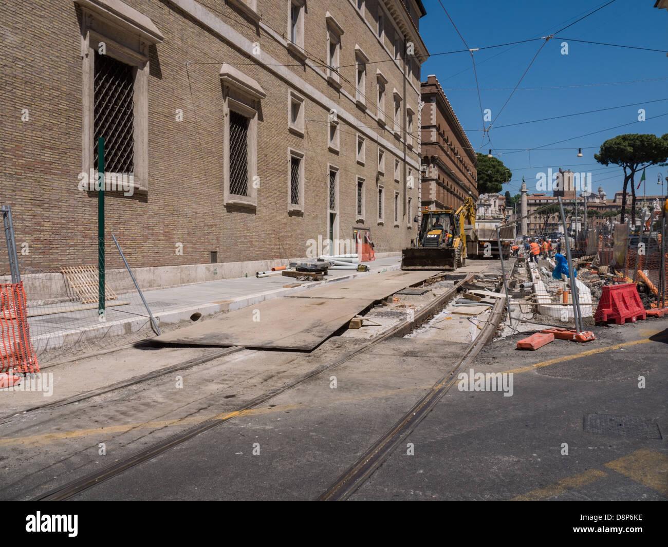 work in progress in the city, Rome Italy - Stock Image