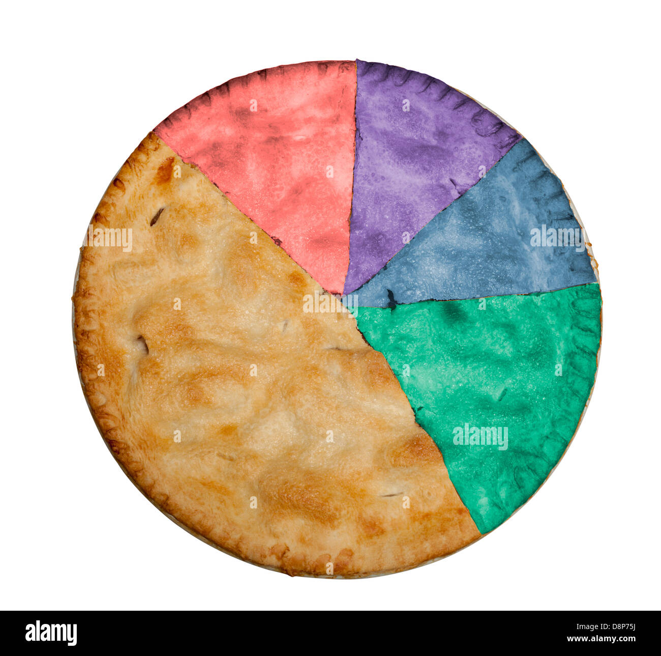 Apple pie cut into slices and marked with colors to indicate a pie chart or statistical model of data - Stock Image