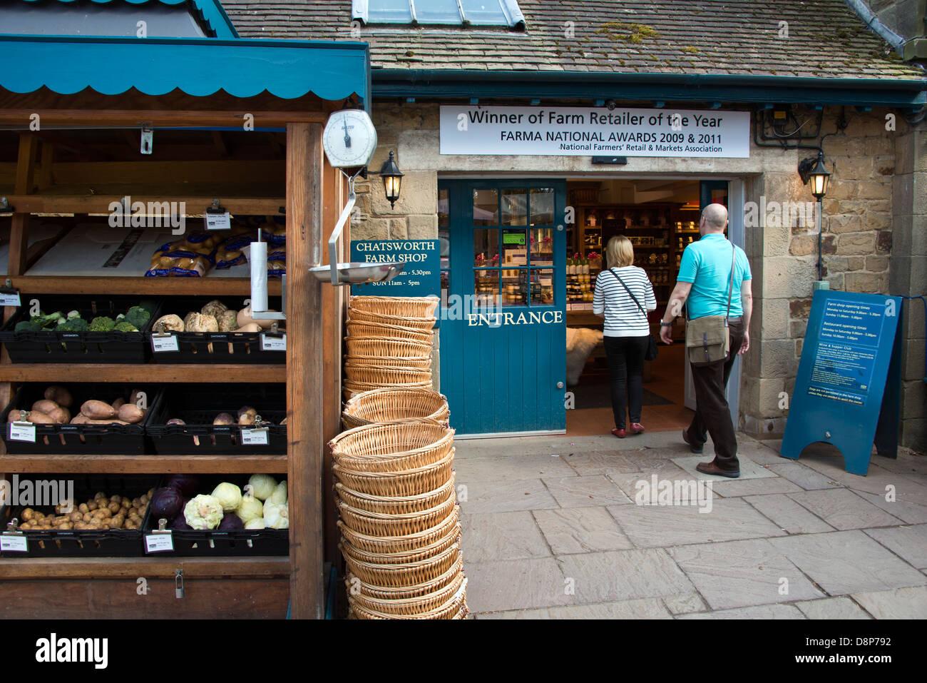 Chatsworth Farm Shop entrance - Stock Image
