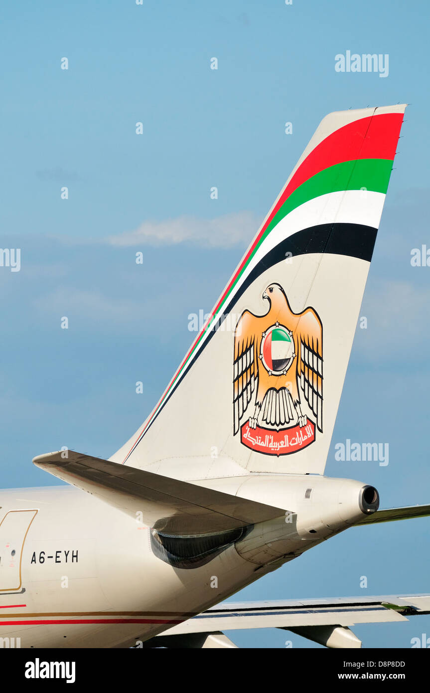 Colourful tail design of an Etihad Airways Airbus A330 tail. Stock Photo