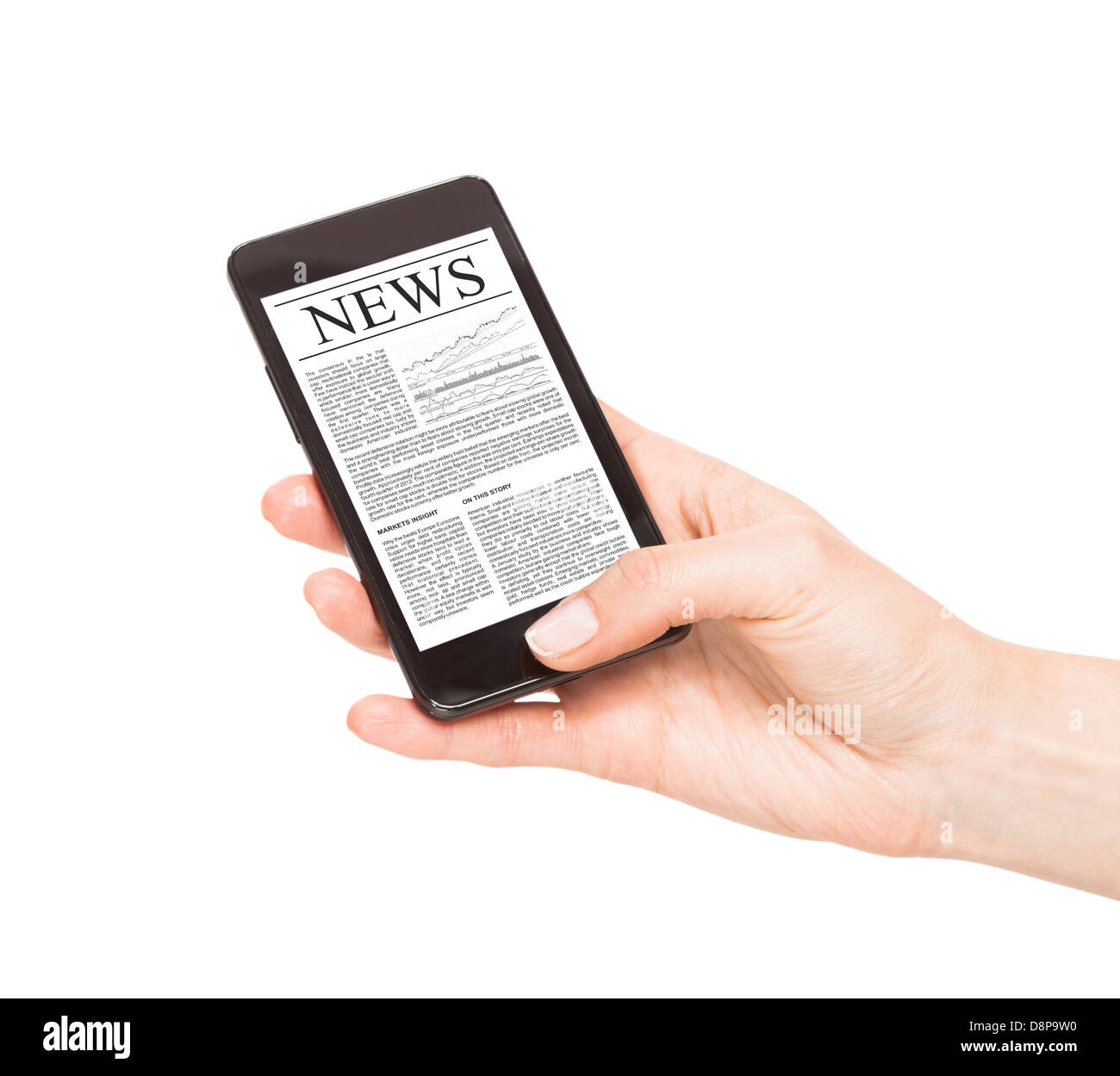 News on mobile phone, smart phone. Isolated on white. - Stock Image