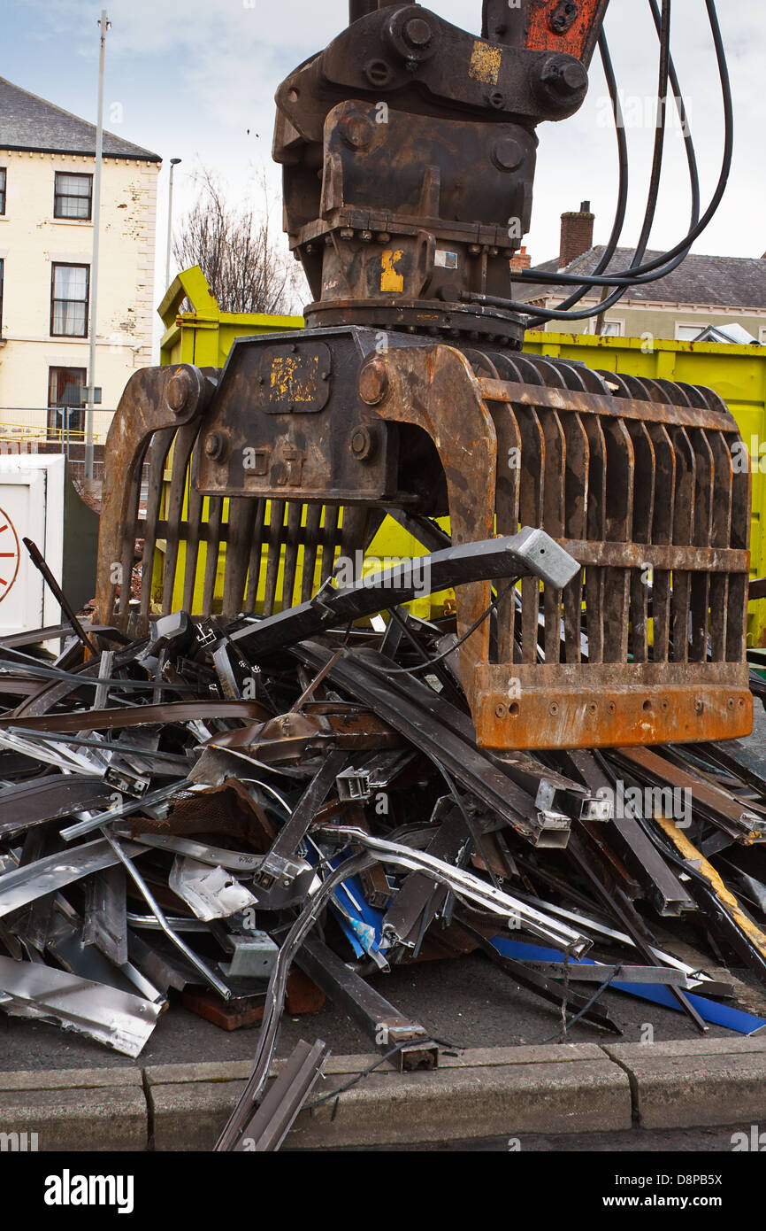 Scrap metal waste of iron and aluminum for recycling at a demolition site Stock Photo