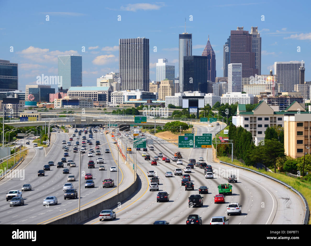 Skyline of downtown Atlanta, Georgia. - Stock Image