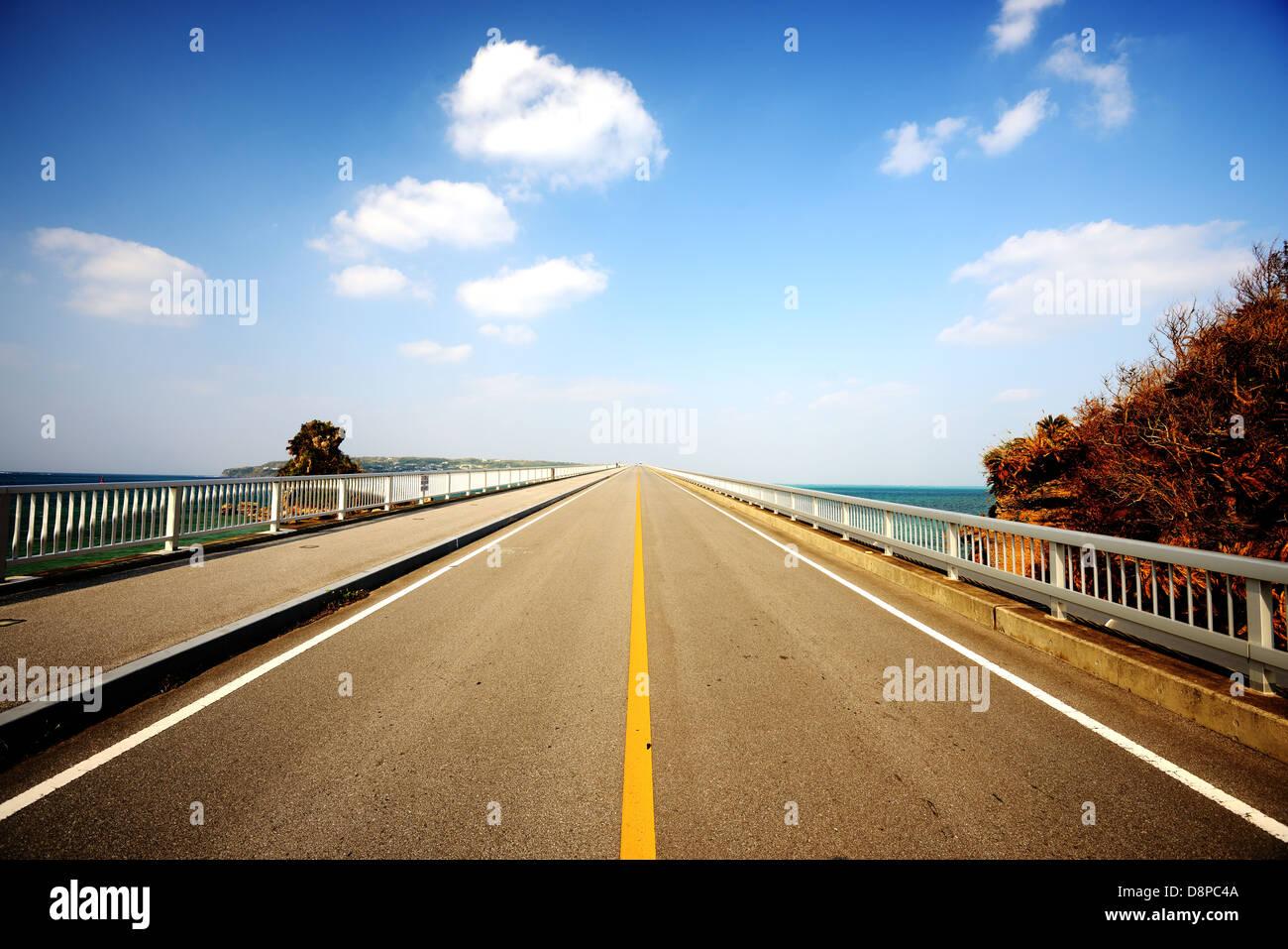 Kouri Bridge in Okinawa, Japan. - Stock Image