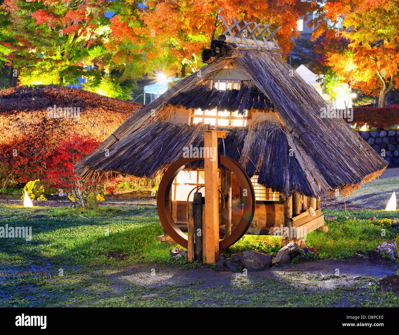 Old Japanese huts in Kawaguchi, Japan. - Stock Image