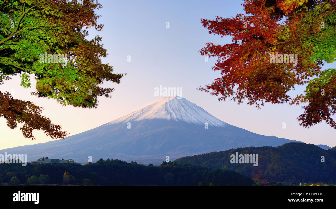 Panorama of Mt. Fuji with fall colors. - Stock Image