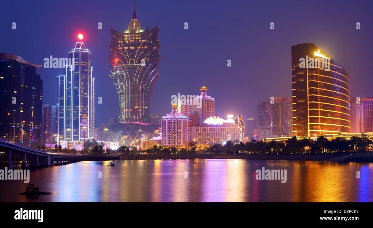 Resorts and casinos at Nam Van Lake in Macau S.A.R, China. - Stock Image