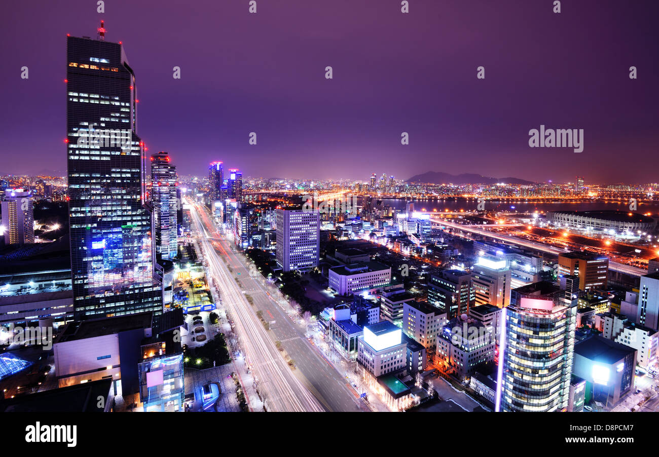 Seoul, South Korea skyline at the Gangnam District. - Stock Image