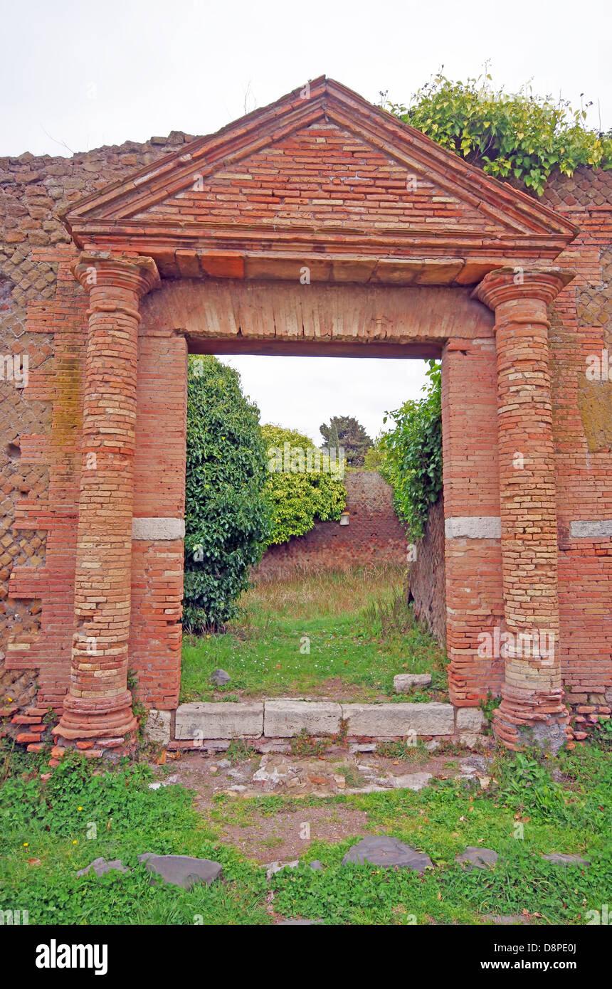 Entrance ruins at Ostia Antica, near Rome - Stock Image