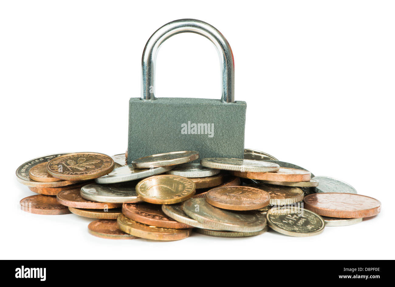 Grey locked padlock and coins. Isolated studio shot. - Stock Image
